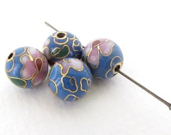 Vintage Cloisonne Beads Enamel Flower Pink Light Blue Green Gold Round 10mm vgb0967 (2)