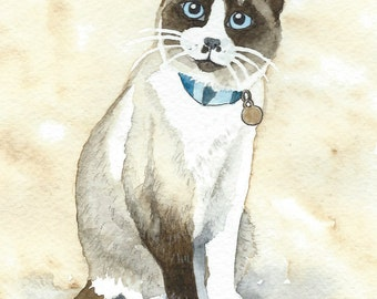 Cat or Dog Pet Portrait Painting Watercolor ORIGINAL ART-  (one subject)  8 x 10 including mat