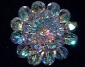 Vintage blue Margarita glass stone and blue faceted glass beads Brooch Gorgeous