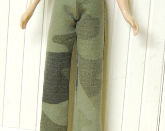 Green Camouflage Slim Pants for Blythe Doll, army, camo