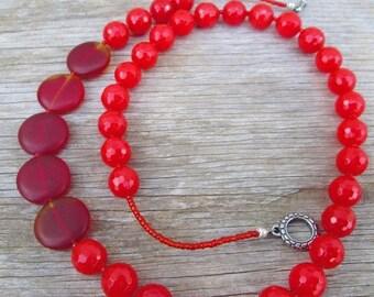 "SALE Blood Orange Red Beaded Necklace, ""Sunset"""