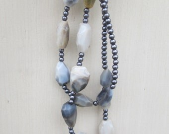 Minimalist Long Gray Agate Pearl Beaded Necklace,  Minimal Modern Grey White Nugget Stone Beads