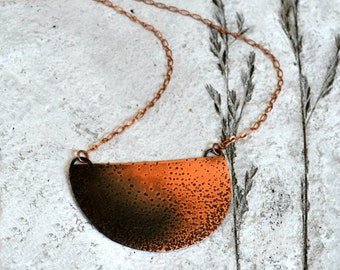 Statement necklace, textured copper half moon necklace, modern and rustic - Collision Course