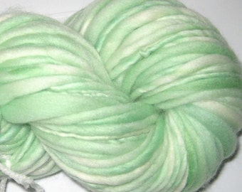 Handspun Yarn Almost Solid Pastel Green  25 yards hand dyed merino wool knitting supplies crochet supplies