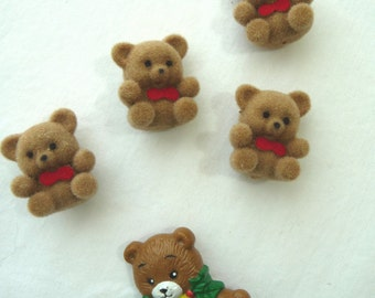Vintage Bears, Miniature Bears, Plastic Bear Pin, MOM, Christmas Bear, Soft Fuzzy Bears, Red Bowties, Craft Supplies, Jewelry, Tiny Bears