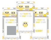 Set of 12 Scratch Off Game Cards for Baby Showers with Owl Family in Yellow and Gray SC025