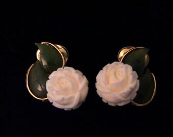 Vintage SWOBODA Jade and Carved Rose Earrings
