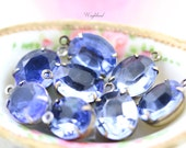 Unfoiled Sapphire 12x10mm Vintage Glass Oval Set Stones Drops Connectors Brass Prong Settings - 2