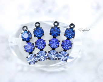 Triple Rhinestone Charms Connectors Swarovski Crystal Set Stones - Capri Blue Sapphire & Light Sapphire - 4