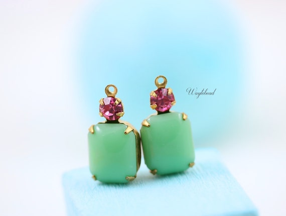 Vintage Glass Octagon Stone and Swarovski Crystal Drops 20x10mm Brass Prong Settings Jade & Rose Pink - 2