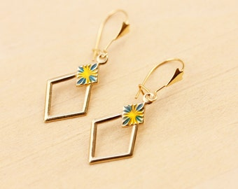10K Gold Geometric Dangle Earrings