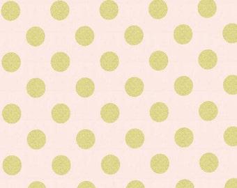 Pink Metallic Fabric, Quarter Dot Pearlized, Confection, Light Pink, Gold, Metallic, Michael Miller, Baby Girl, Teen, Woman, In Custom Cuts