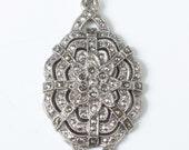 Marcasite Pendant Edwardian Art Deco Revival Silver Tone Vintage