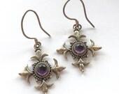 Sterling Amethyst Maltese Cross Earrings Dangle Drop Vintage