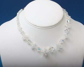 AB Crystal Necklace Aurora Borealis Beads Choker Vintage