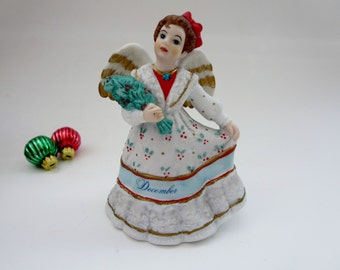 December Angel Music Box Figurine - Angelic Melodies Music Box  - Plays Joy To The World - Made by Schmid 1990s