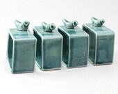 Pottery Napkin Holders-Set of 4-Ceramic Napkin Rings-Bird Pottery-Ready to Ship