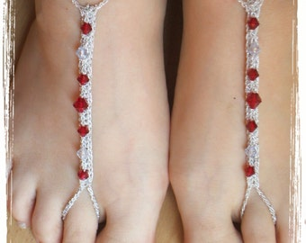 Crocheted Bare-Foot Anklet Jewelry in Silver & Red - one size fits most #115