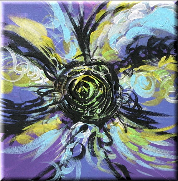 Purple Dreams Sugar Candy Pop Daisy Art (floral flower abstract art landscape contemporary painting) textured mix-media art