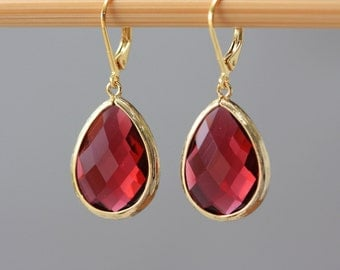 Red Garnet Crystal Drops, Gold Red Earrings, January Birthstone, Bright Red Drops, Spring, Easter, Birthday Gift for Wife, Valentines Day