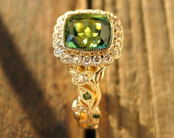 Green Afghan Tourmaline Engagement Ring in 14K Yellow Gold with Diamonds and Tsavorite in Flower on Vine Motif Setting Size 7