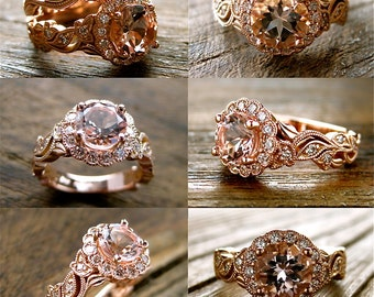 Order Your Pink Peach Morganite Vine Engagement Ring with Diamonds Here - For Deposit Only