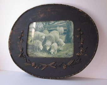 Antique Ornate Oval Wood Frame with Sheep Print by J.A.S. Monks