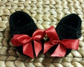 Christmas Portrait Dressy Black with Red Bow Baby Mary Janes 3-6 Months