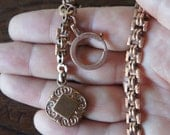 Antique French Gold Plated Pocket Watch Chain with Ornate Fob