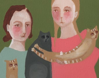 "Original Painting, 9 inch round stretched canvas , Folk art, modern, cats, people, ""Family Portrait"""