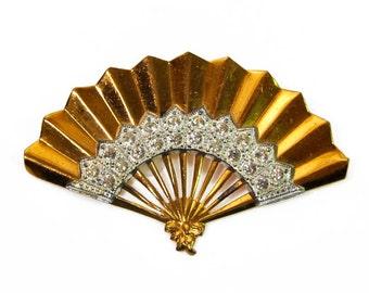 1940s Art Deco Art Deco Gold and Silver Rhodium Metal Fan Vintage Pin Brooch