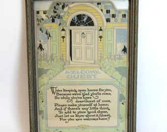 Vintage Inspirational Motto Framed Print Welcome Guest