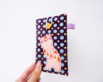 iPhone 4 Case,iPhone 4 Sleeve,Cat,iPhone Cover,Cell Phone Case,Mobile Case,Fabric,Cute,Kawaii,Purple - Cat Lover Gift