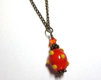 Lampwork Orange Yellow Necklace, Swarovski Austrian Crystals, Antique Brass, Autum Necklace, Spiritcatdesigns