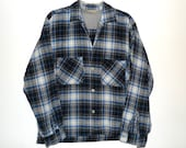 Drapey Wool Plaid Shirt 50s 60s Monterey Blue Black Grey & White Oxford ButtonDown Hunting Fishing Country Crooner Distressed Menswear Top