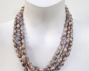 Vintage Necklace - Three Strand - Mable Like Tan - For Women