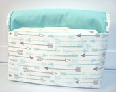 Fabric Coupon Organizer /Budget Organizer Holder  Attaches to Your Shopping Cart - Beautiful Aqua and Gray Arrows on White