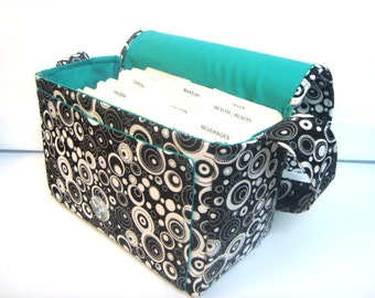 "Large 4"" Size Coupon Organizer / Coupon Bag Budget Holder Box Attaches to Your Shopping Cart Black with Dots with in Dots -Select Your Size"