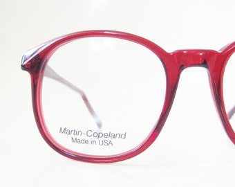 Vintage Red Wayfarer Eyeglasses Womens 1980s Martin Copeland USA American Made 80s Deadstock Indie Hipster Chic NOS New Old Stock