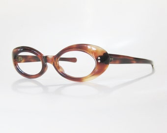 Vintage 1960s Oval Eyeglasses Cat Eye Womens Glasses Mad Men Fashion Eyeglass Frames Tortoiseshell Amber Brown 60s Sixties Reading Deadstock