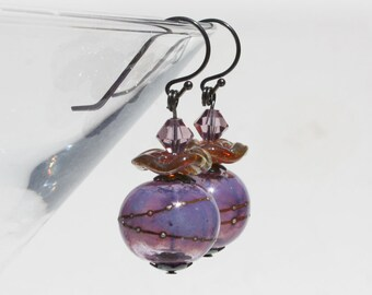 Hollow Glass Bead Earrings, Lampwork Beads, Lavender Pink, Lilac Purple, Swarovski Crystals, Dangle, Sterling Silver, Handmade Beads