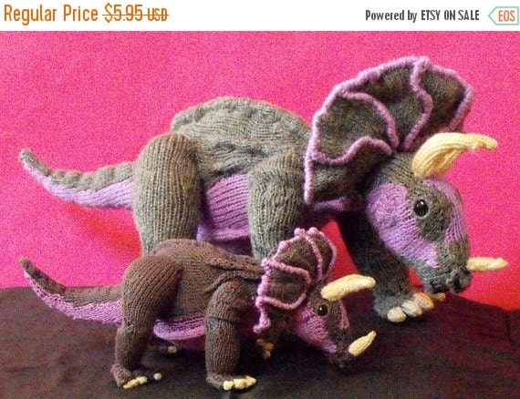 HALF PRICE SALE Digital file pdf download knitting patternTracy Triceratops and Baby Toy Dinosaurs animal pdf download knitting pattern