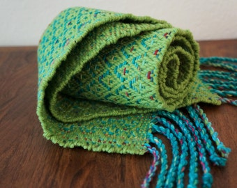 Handwoven Leaf Green and Turquiose Scarf