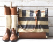 Diaper bag, crossbody bag,Messenger bag WAXED Stockholm Gray geometric nautical striped  Leather / Ikabags Featured on The Martha Stewart L1