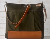 BEST SELLER Messenger bag/Diaper bag Green Stockholm with Crossbody Leather strap/ Ikabags Featured on The Martha Stewart F1