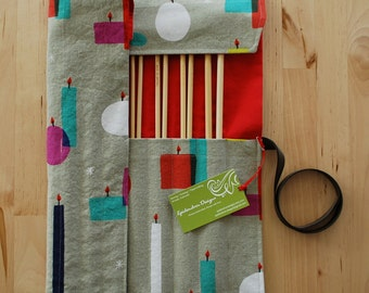 Knitting Needle Case / Organizer / Holder for Straight Needles - Colorful Candles Fabric with Red Lining