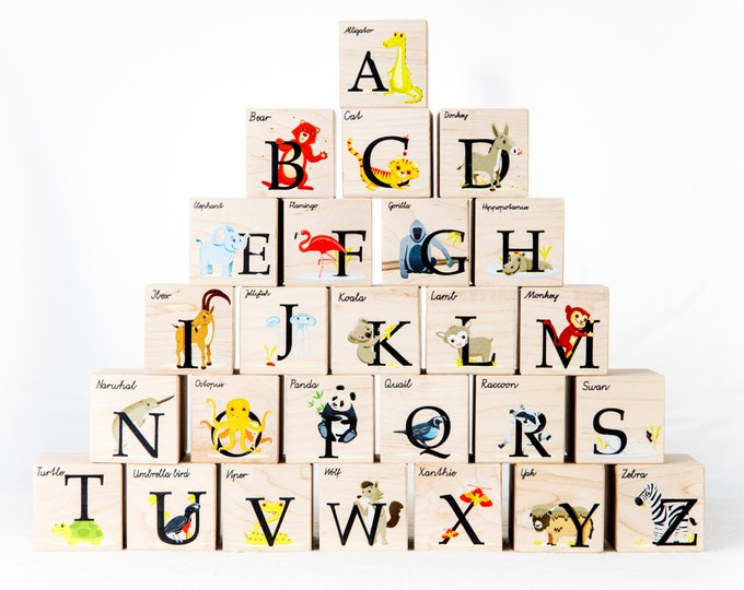 Featured listing image: Alphabet Blocks - animal alphabet kid block toy