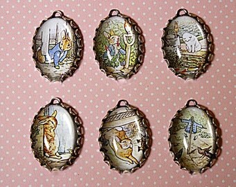 "6 Pcs Beatrix Potter-""The MISCHIEVOUS PETER RABBIT"" Handmade Photo Charm Set 25X18mm Bezels-story book charms-Peter Rabbit charms"