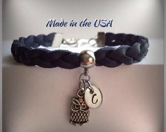 Personalized braided leather owl bracelet