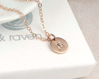 Rose Gold Initial Necklace, dainty personalized initial disc, rose gold filled, hand stamped
